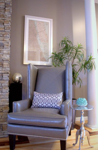 pebble accent chair - zgallerie | framed 'chicago' art - zgallerie | metal oval side table - homegoods